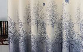 Blue Grey Curtains Scenic Tree And Leaf Grey Blue Pastoral Print Curtain