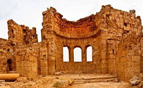 syrian desert the ruins of the basilica of st sergius rise out of the central