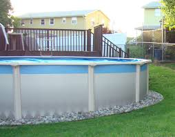 Backyard Landscaping Ideas With Above Ground Pool Gravel Around Above Ground Pool Round Designs