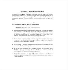 separation agreement template u2013 10 free word pdf document