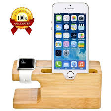 iwatch theme for iphone 6 cell phone charger dock with watch bamboo holder desk wood charging