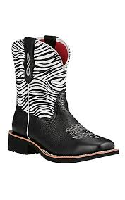 womens zebra boots ariat fatbaby heritage s black with zebra print square