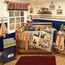 Construction Crib Bedding Set Rich Colors Of Navy Moss Green Ivory And Burgundy With