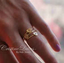 rings with initials stacking initial ring with your initial in sterling silver yellow