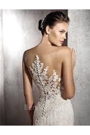 unique mermaid illusion neckline sheer back lace fringe wedding dress