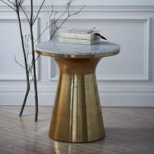Marble Side Table Marble Topped Pedestal Side Table White Marble Antique Brass