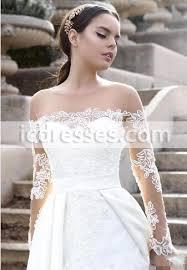 vintage long sleeves wedding dresses 2017 a line sheer neckline