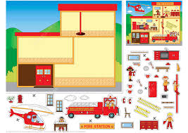 Fire Station Floor Plans Fire Station Paper Collage Free Printable Papercraft Templates