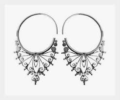 ear ring image silver earring tribal dangle drop unique handmade funky women boho