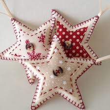 set of three star shaped felt christmas by aliceemilyrose on etsy