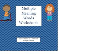multiple meaning words worksheets speechtivities