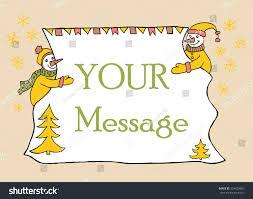 doodle 4 blank sheet banner messahe two snowmen stock vector 354420887