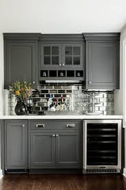 grey marble tile backsplash stainless steel wine cooler black