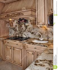 kitchen granite range and hood design royalty free stock photos