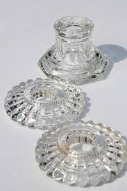 Vintage Crystal Chandelier Parts Pressed Glass Lamp Bases U0026 Parts Lot Bobeches For Crystal
