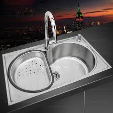 Single Bowl Large Capacity Stainless Steel Kitchen Sinks With Faucet - Large kitchen sinks stainless steel