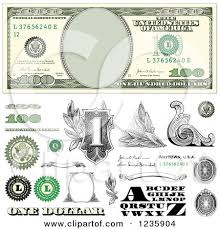 clipart of a one hundred dollar bill and design elements