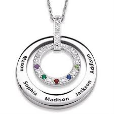 birthstone and diamond necklace with names silver or gold