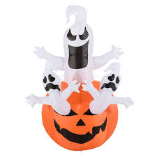 halloween ghost lights homcom halloween inflatable decoration pumpkin w ghosts 1 8 m 5