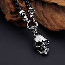 stainless steel necklace pendants images Stainless steel skull necklaces pendants 47cm long black non jpg