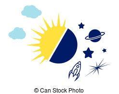day and sun moon symbol illustration stock illustration