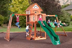 cedar view swingset promo picture with excellent wood playsets for