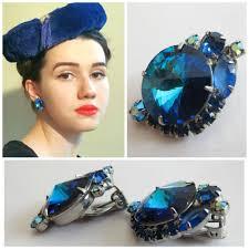 1960 s earrings vintage 1960s 1950s blue rhinestone clip on earrings 60s 50s
