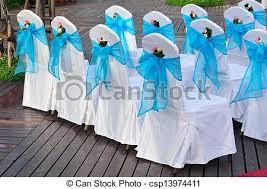 mariage bleu et blanc photographies de stock de bleu chaises color mariage décoré