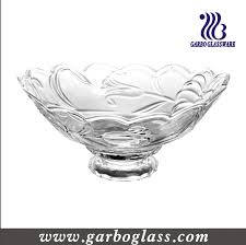 glass salad bowl with stand large decorative glass bow new