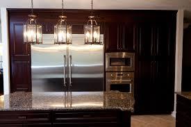 Cheap Kitchen Lighting Ideas - walnut wood colonial shaker door kitchen island lighting ideas