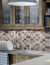 Kitchen Tile Idea Patchwork Backsplash For Country Style Kitchen Ideas Homestead