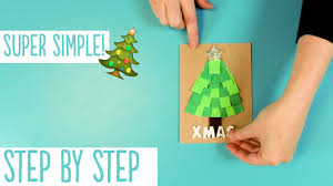 easy paper christmas tree card quick xmas craft tutorial youtube