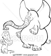 vector illustration mouse elephant coloring book stock