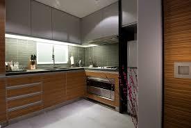 modern wood kitchen ideas with wooden kitchen grey tiles overhead