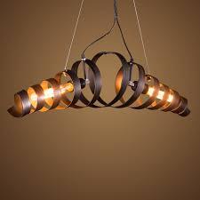 2 Pendant Light Fixture Vintage Wrought Iron Industrial Lighting Fixture 2 Heads Spiral