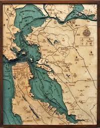 Map Of Bay Area Bathymetric Map San Francisco Bay Area California Scrimshaw