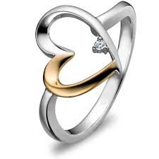 gold promise rings sterling silver and 14k gold mix promise ring uls 9912