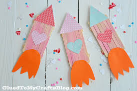 popsicle stick valentine rocket ships kid craft glued to my crafts