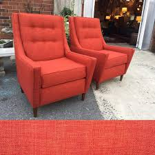 high back mid century modern accent chairs in burnt orange custom