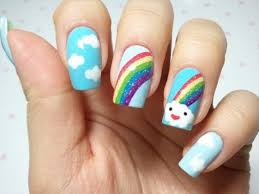 cute nail art design in rainbow theme coodots