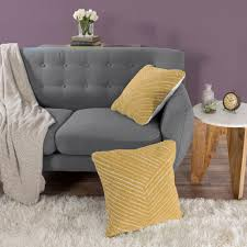 Lavish Home Modern Diagonal Stripe Yellow Decorative Pillow 66 09