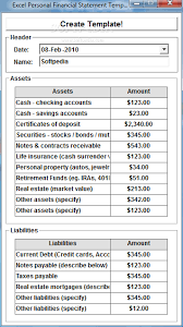 Excel Balance Sheet And Income Statement Template Excel Personal Financial Statement Template Software