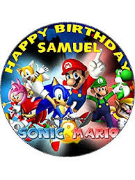 sonic the hedgehog cake topper 7 5 sonic and mario edible icing birthday cake topper co