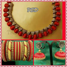 red necklace online images Jewellery set made of silk thread in red colour jpg