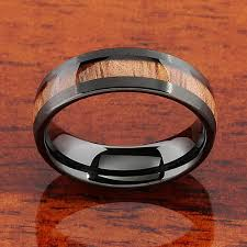 natural wedding rings images Koa wood rings black tungsten dome shape comfort fit JPG