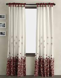 cute white and maroon flower pattern curtain on black stainless