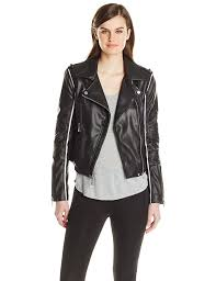 moto jacket bcbgmaxazria women u0027s faux leather moto jacket with contrast piping