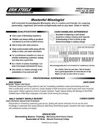 Job Description For Bartender On Resume Resume Head Bartender Resume