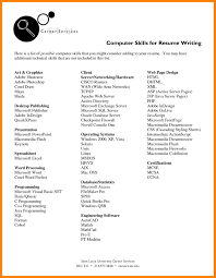 Writing Skills Resume 10 Computer Skills Resume Experince Letter
