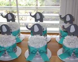 elephant baby shower centerpieces elephant cake bundle mint gray by everylittledetailllc